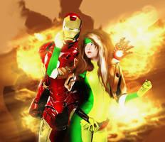 Rogue and Iron Man,