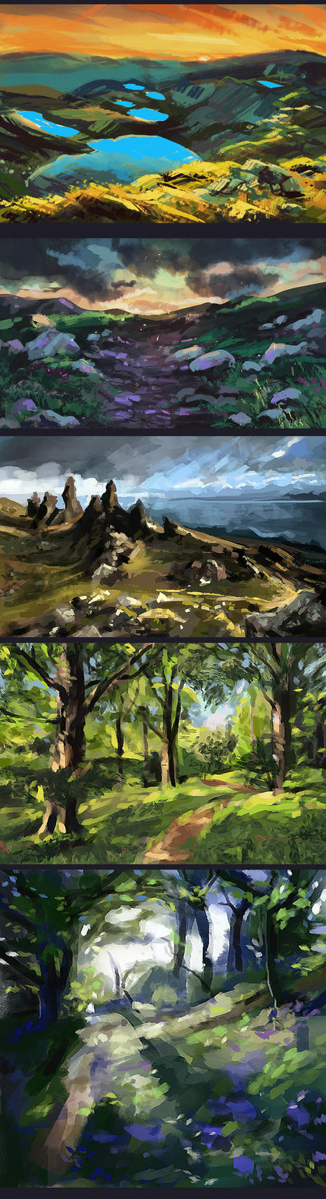 Environment speedpaintings by Kris-Kamikakushi
