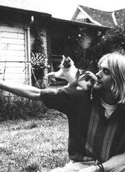 Kurt Cobain and his kitten by DeathShinozaki