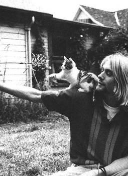 Kurt Cobain and his kitten