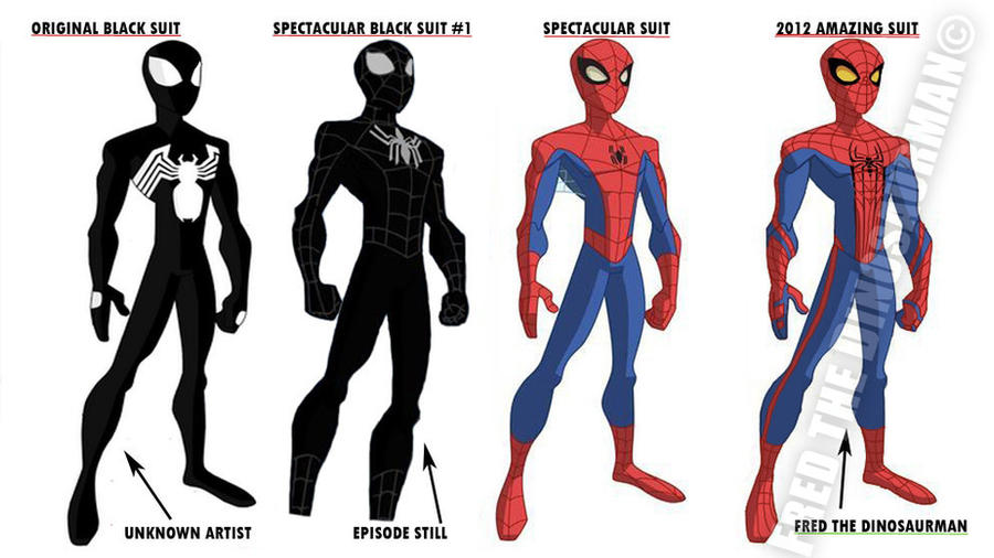 The Spectacular Spider-Man Suits by FredtheDinosaurman on DeviantArt
