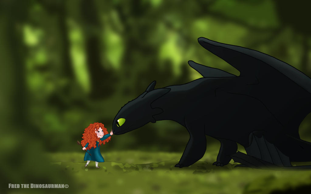 Little Merida Meets Toothless By Fredthedinosaurman On