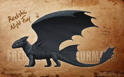Realistic Night Fury Concept by FredtheDinosaurman