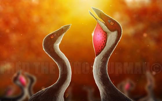 Ornithomimus Mating Season by FredtheDinosaurman