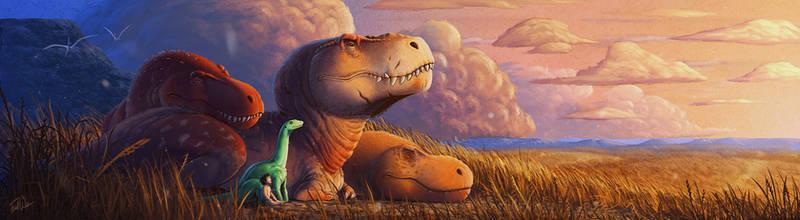 Dinosaur Sunset - The Good Dinosaur Fan Art by FredtheDinosaurman