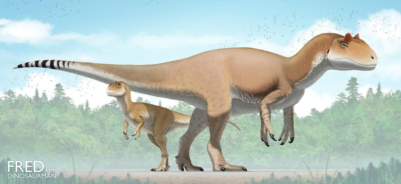 Allosaurus and Infant by FredtheDinosaurman