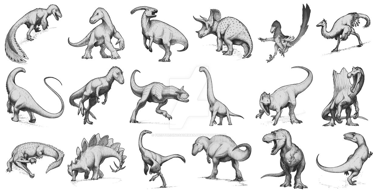 Dinosaur Sketches by FredtheDinosaurman