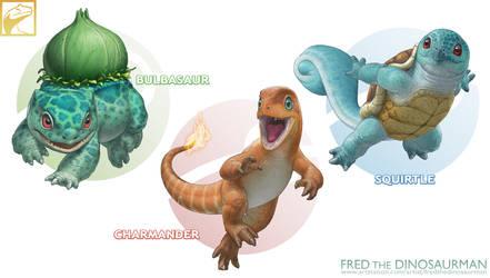 Realistic Pokemon: Bulbasaur, Charmander, Squirtle