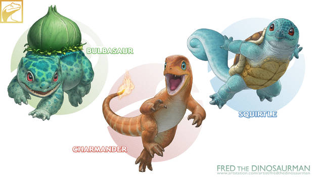 Realistic Pokemon: Bulbasaur, Charmander, Squirtle