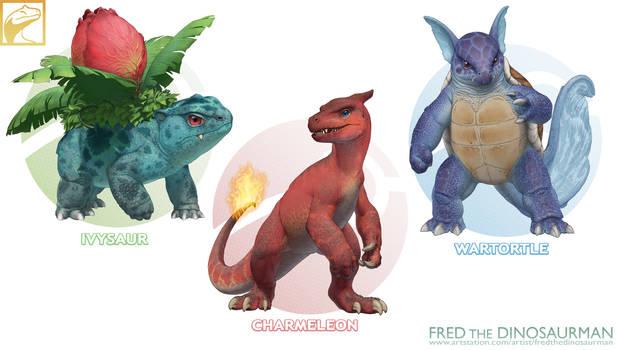 Realistic Pokemon: Ivysaur, Charmeleon, Wartortle