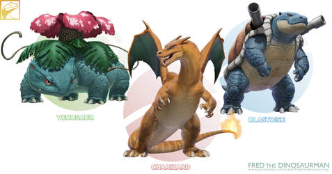 Realistic Pokemon: Venusaur, Charizard, Blastoise