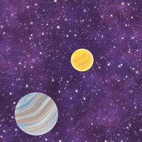 Planet and Sulphur Moon Stock