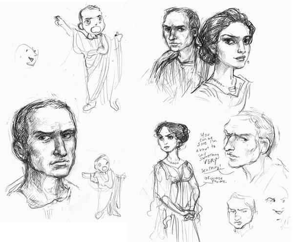 Cicero and Clodia sketches by suburbanbeatnik