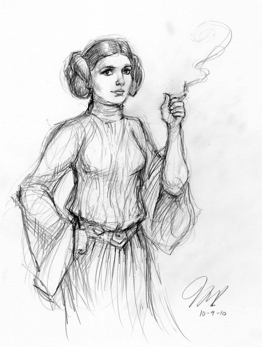 Smoking Leia by suburbanbeatnik
