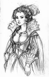 Jacobean Pocahontas sketch by suburbanbeatnik