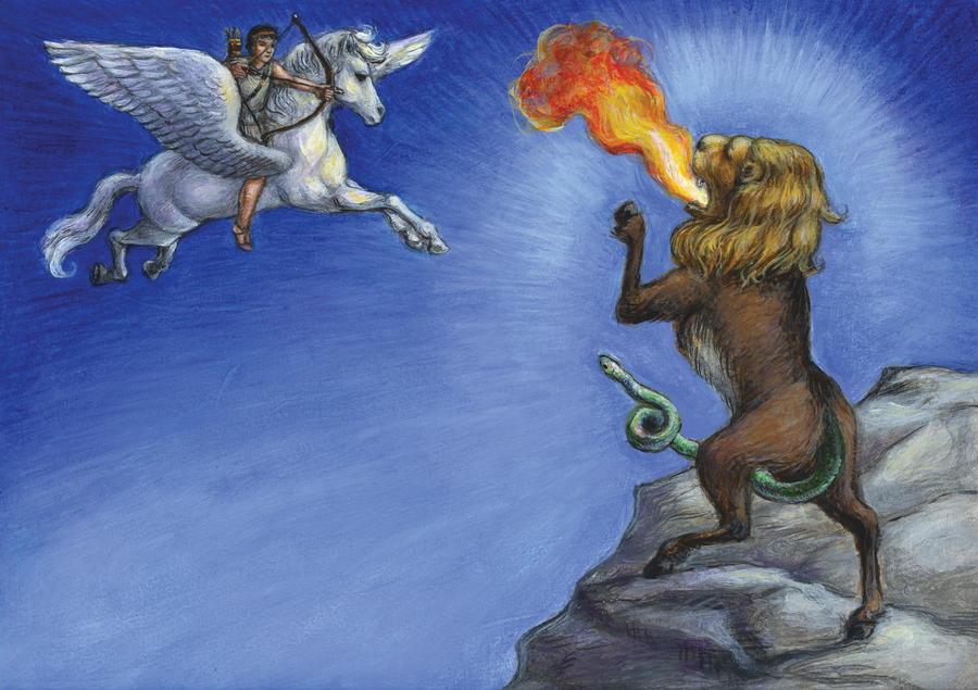 Bellerophon fights the Chimera by suburbanbeatnik
