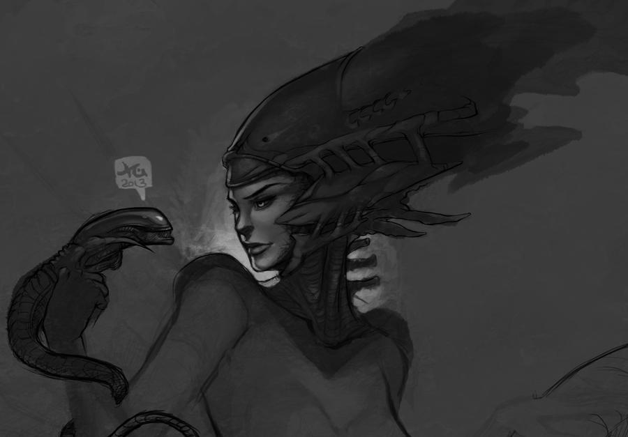 Alien Queen - Painting Progress by Sayda on DeviantArt