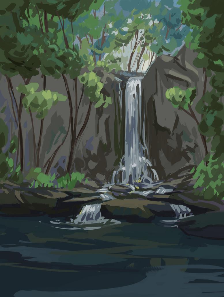 Waterfall Speedpainting by IceRider098