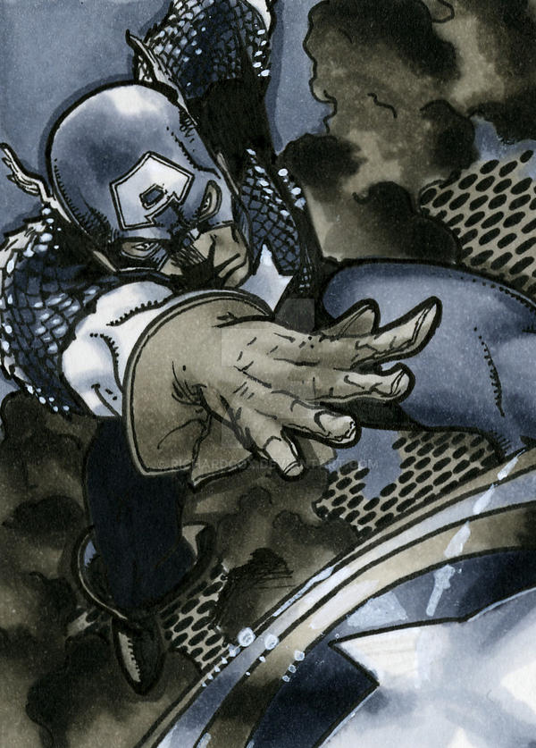 Captain America Sketch Card by RichardCox