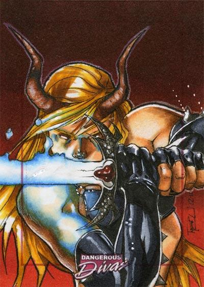Magik Marvel Divas Sketch Card by RichardCox