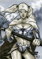 Barbarian Dungeon Dolls Sketch Card by RichardCox