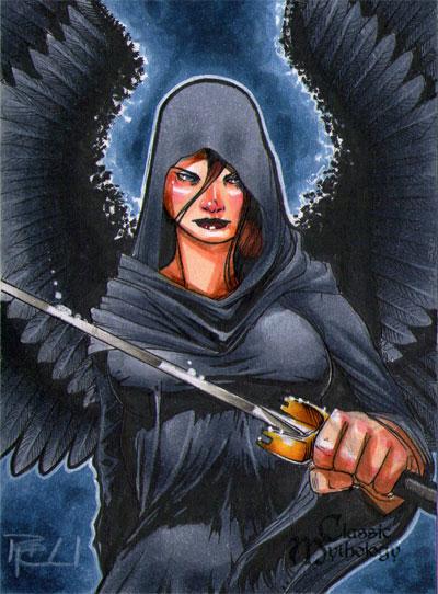 The Morrigan Classic Mythology Sketch Card by RichardCox