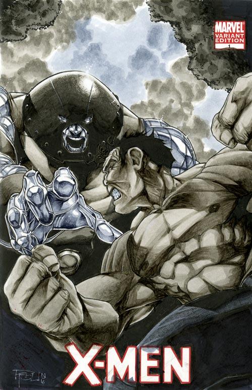 Red Hulk v JuggerColossus X-Men 01 Sketch Cover by RichardCox