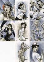 Bombshells Sketch Cards 01 by RichardCox