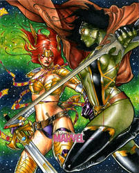 Angela vs Gamora Women of Marvel Artists Proof by RichardCox