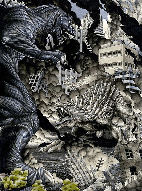Godzilla 2001 v. Angilas by RichardCox