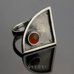 HATOON  sterling silver  ring with carnelian