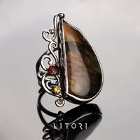 JINEIT  large ring handmade with labradorite