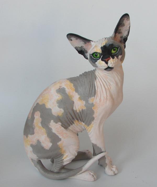 Hairless Sphynx Cat Handmade Figurine by Kesa-Godzen