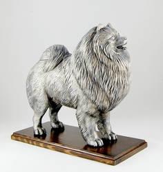 Wolfspitz (or Keeshond) sculpture by Kesa-Godzen