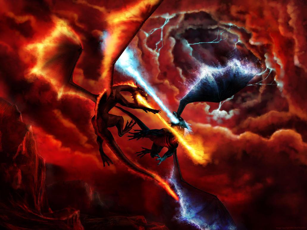 giant giant fire dragon vs ice dragon - photo #15