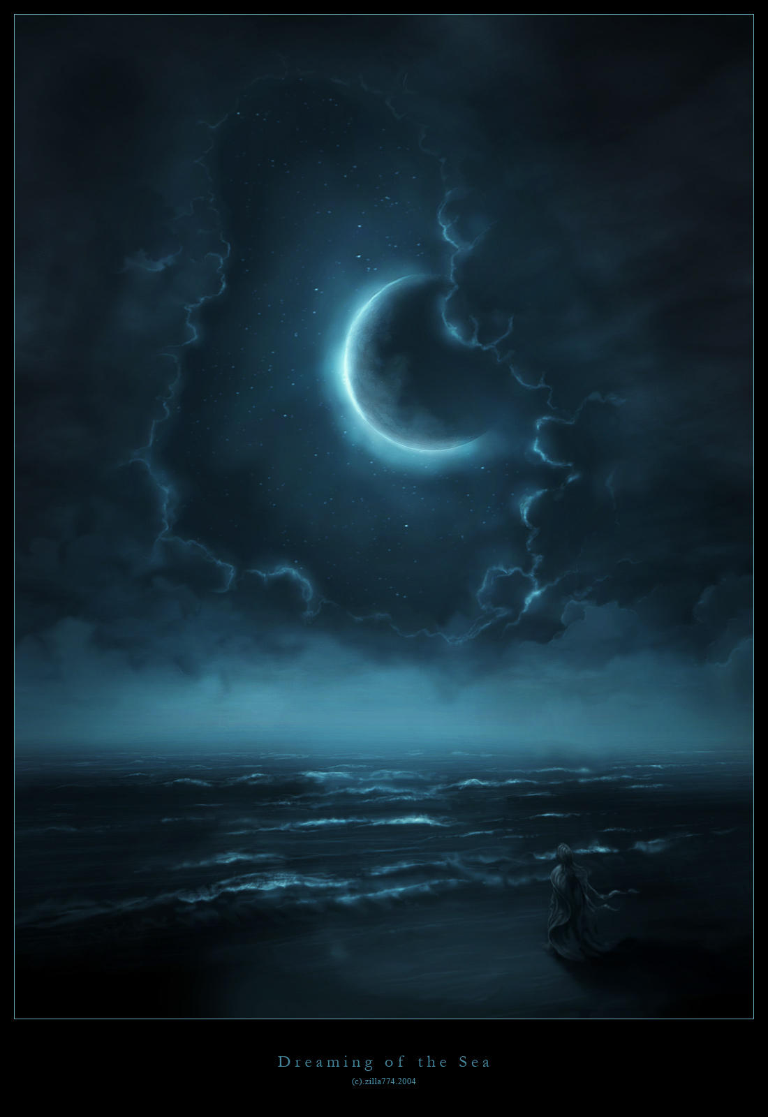 Lune Surplombant La Mer dans Darkness Dreaming_of_the_Sea