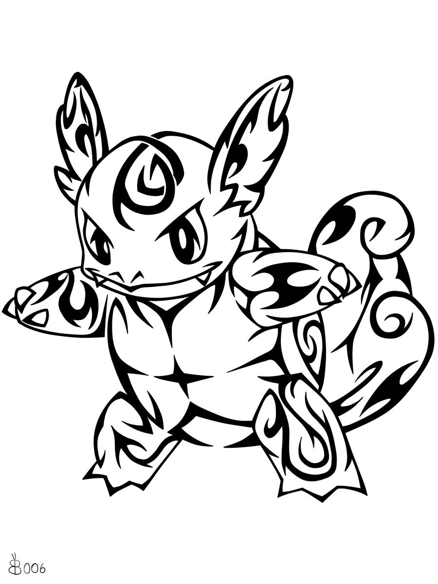 #008: Tribal Wartortle by blackbutterfly006