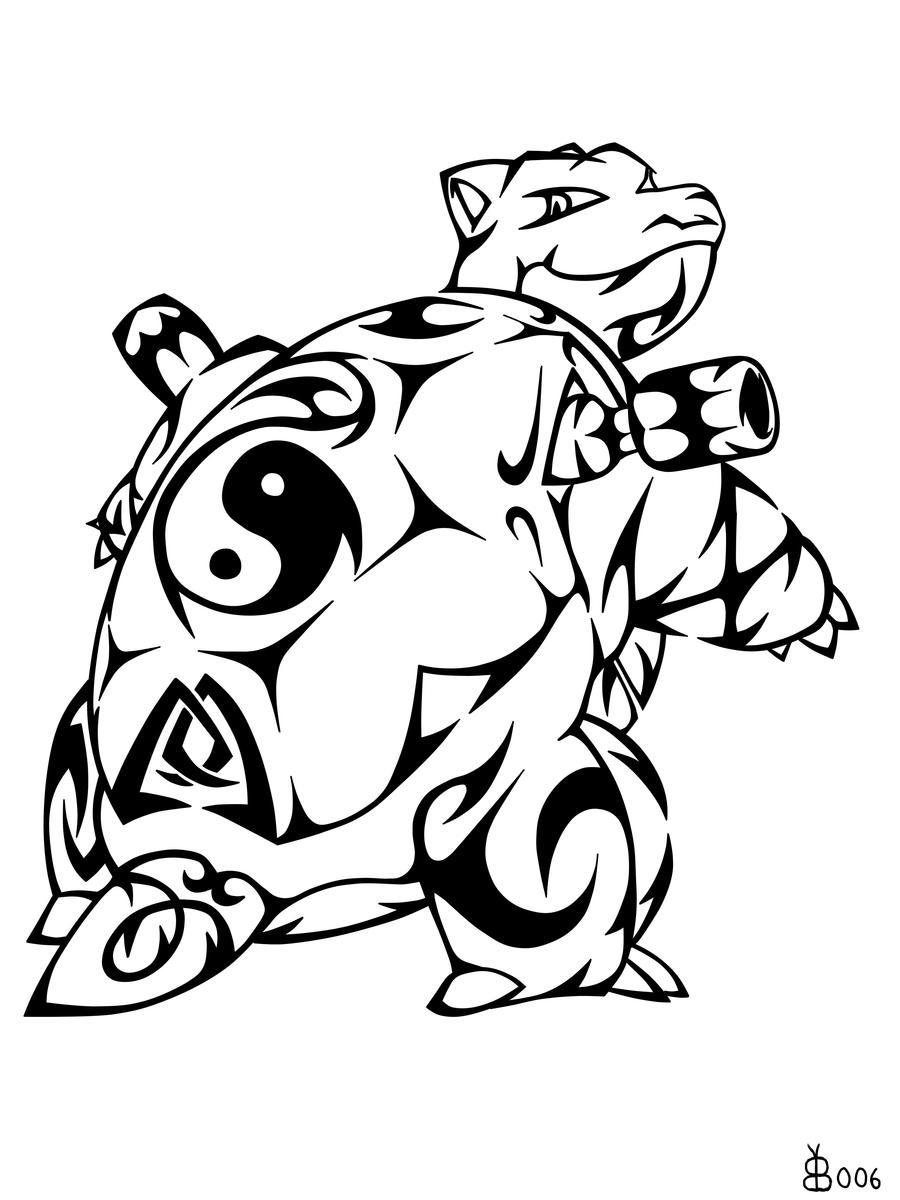 #009: Tribal Blastoise by blackbutterfly006