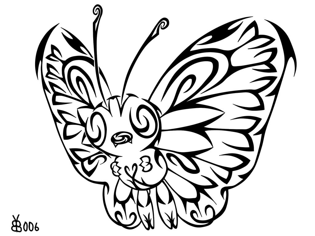 #012: Tribal Butterfree by blackbutterfly006