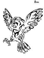 #017: Tribal Pidgeotto by blackbutterfly006
