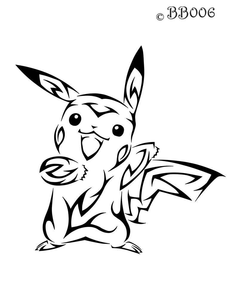 #025: Tribal Pikachu by blackbutterfly006
