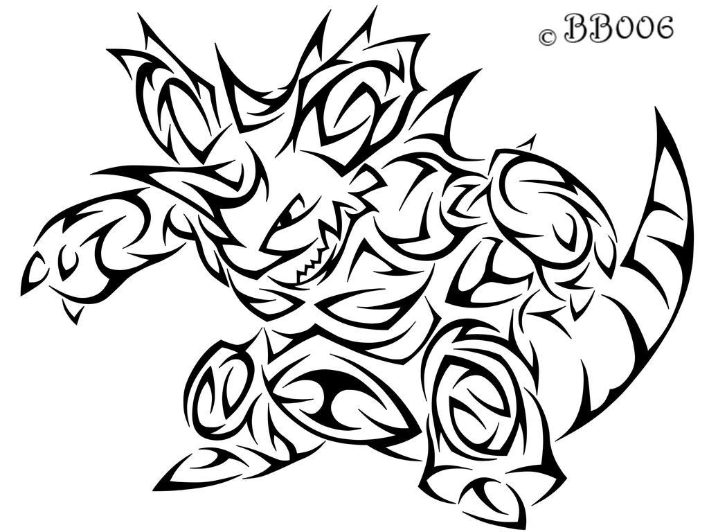 #034:Tribal Nidoking by blackbutterfly006