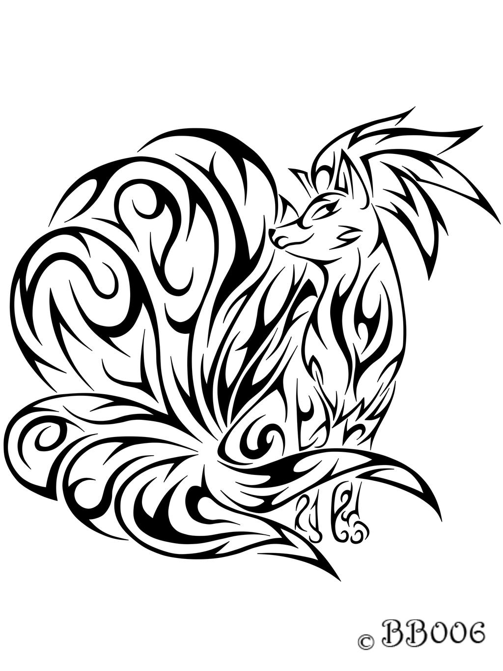 tribal nine tailed fox tattoos. Black Bedroom Furniture Sets. Home Design Ideas