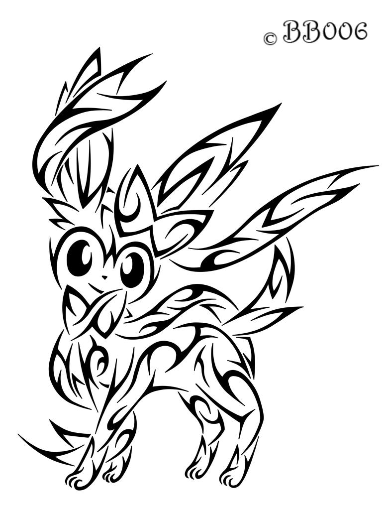 Tribal sylveon by blackbutterfly006 on deviantart for Tribal pattern coloring pages