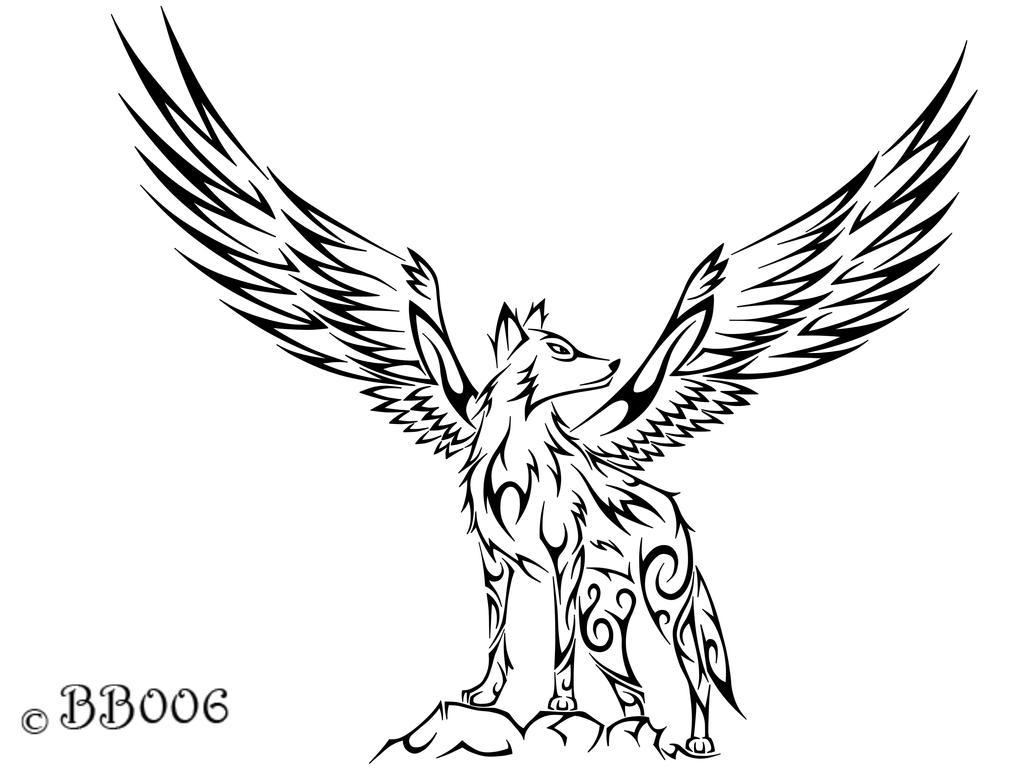 Tribal Winged Wolf by blackbutterfly006
