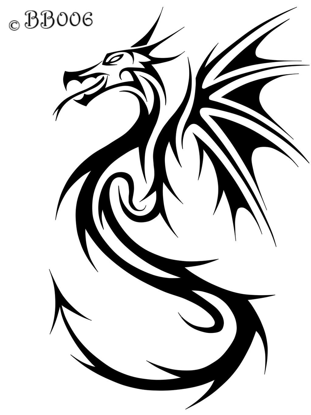 Black Line Drawing Tattoo : Tribal dragon by blackbutterfly on deviantart