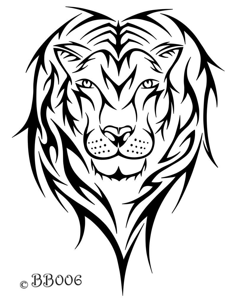 Tribal Lion Head by blackbutterfly006