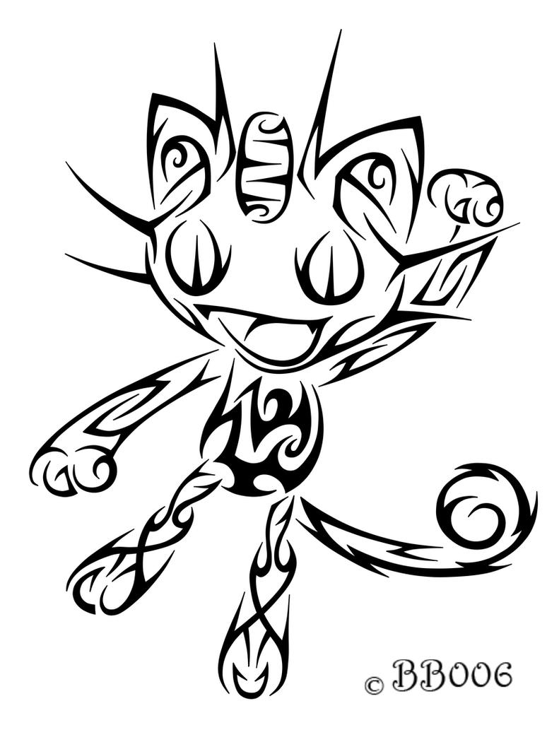 #052: Tribal Meowth by blackbutterfly006