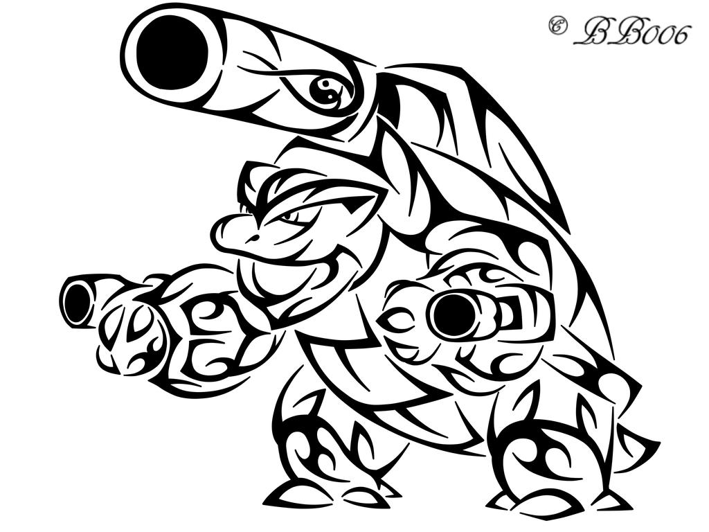 Tribal mega blastoise by blackbutterfly006 on deviantart for Tribal coloring pages