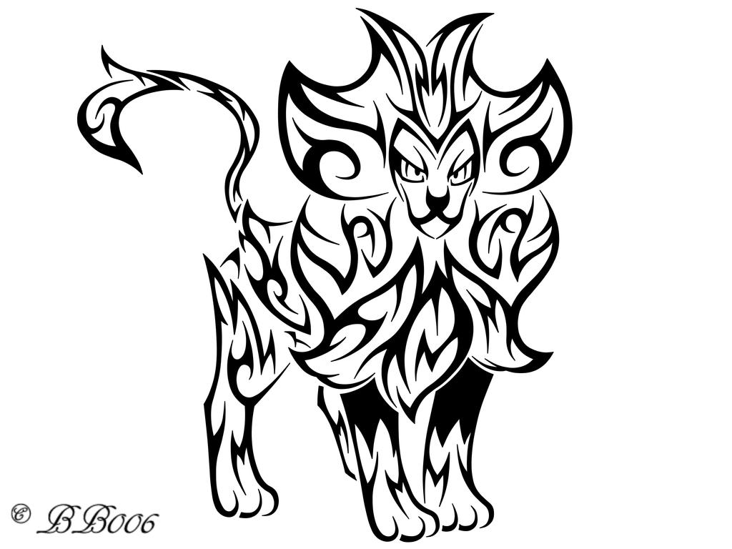 Tribal pyroar by blackbutterfly006 on deviantart for Tribal coloring pages